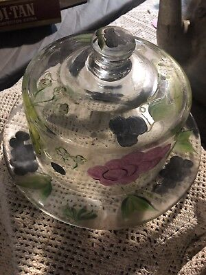 Cake Stand With Lid - Hand Painted Glass Serving Tray With Domed Lid