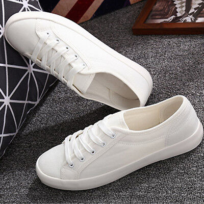Women's White Breathable Running fitness Sports Sneakers Casual Flat Shoes UK