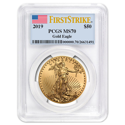 2019 $50 American Gold Eagle 1 oz. PCGS MS70 First Strike Flag Label
