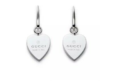 ae5e360d3d9 GUCCI STERLING SILVER Drop Trademark Heart Earrings -  205.00