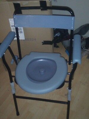 Drive Folding Steel Commode Chair with Backrest Portable Toilet Mobility Aid