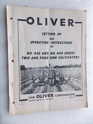 Vintage Oliver Plow Set Up & Operating Instructions 420 440 2/4 Row Cultivators