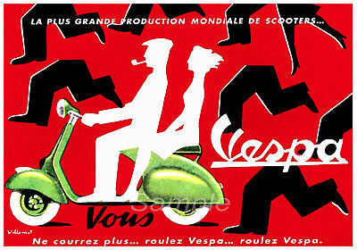 Va03 Vintage 1954 Vespa Scooter Advertising A4 Poster Print