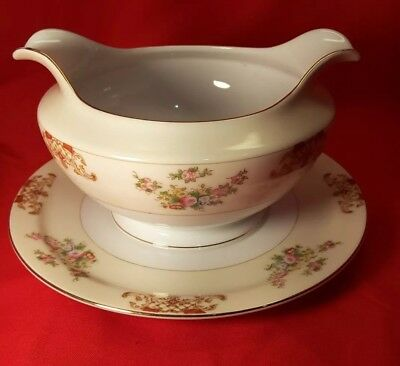 MEITO China Handpainted Vintage Floral Gravy Boat Attached Underplate Gold Trim