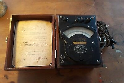 Antique Vintage Weston Voltmeter W/Case Model 341 Dated 1918 Untested Steampunk