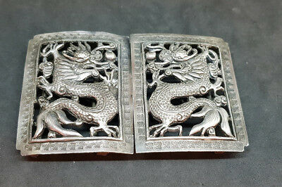Rare Antique Chinese Export Solid Silver Dargons Belt Buckle Sign