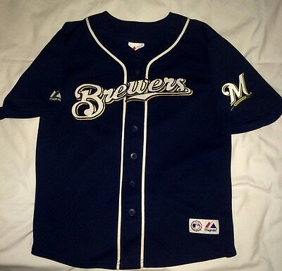 EUC MLB NL Milwaukee Brewers Ryan Braun #8 Majestic Sewn Jersey Youth M(10-12)