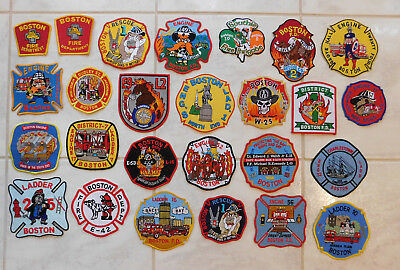 Lot of 26 different Fire Dept. patches from Boston MA Massachusetts
