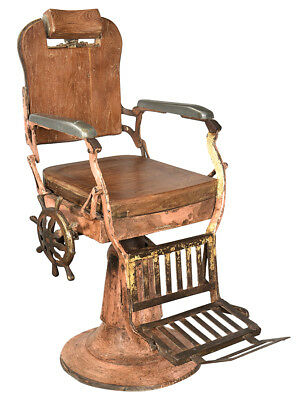 Stunning Old World Distressed Paint Wood Steel Vintage Barber Chair,36''x41''H