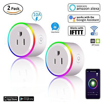 2 Packs Wifi Smart Plug Remote Control Outlet Socket Work with Alexa Google Home