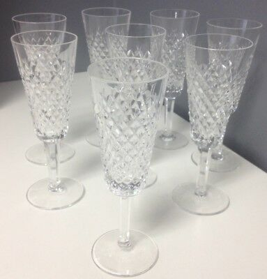 WATERFORD Set Of 8 Clear Cut Crystal Alana Claret Champagne Stemware Glasses SR