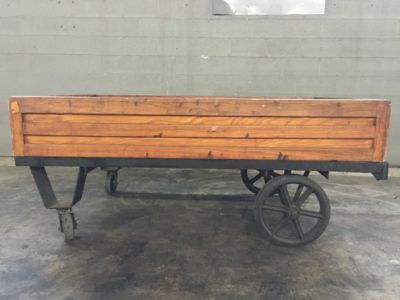 Wooden Wagon Coffee Table w/ Removable Lid
