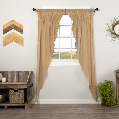 Tobacco Cloth Khaki Fringed Cotton Country Cottage Window Long Prairie Curtains