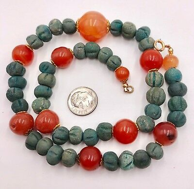 Antique vintage gold filled clasp ancient Egyptian faience melon beads & agate b