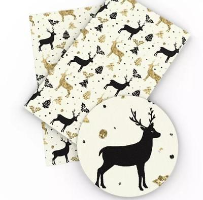 Gold glitter Print Christmas deer faux leather sheet vinyl fabric full-1/2 sheet