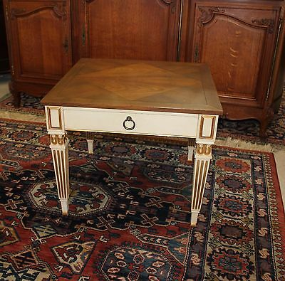 Louis XVI Style Baker White Side Table One Drawer Table with Storage