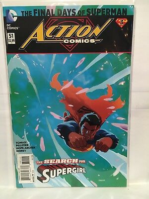 Action Comics (Vol 2 Neuf 52) #51 VF + 2nd Imprimé Dc Final Days Of Superman