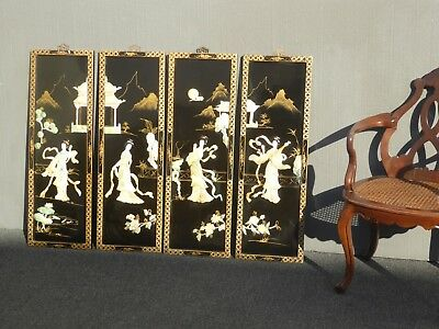 "Four Vintage Japanese ""Geisha"" Mother of Pearl Inlay Hand Painted Wall Panels #2"