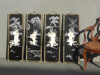 "Four Vintage Japanese ""Geisha"" Mother of Pearl Hand Painted Wall Panels Picture"