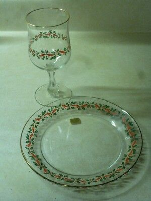 Arby's Vintage Arcoroc 8 PC Salad Plates/Goblets Gold Rim Holly Berry Christmas
