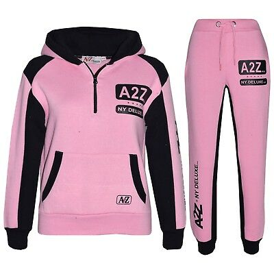 Kids Girls Jogging Suit Baby Pink Designer's Tracksuit Zipped Top Bottom 5-13 Yr