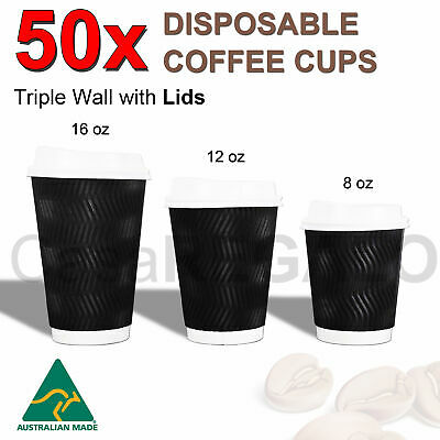 50x Disposable Coffee Cups 8oz 12oz 16oz Takeaway Paper Triple Wall Take Away