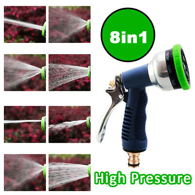 High Pressure 8 in 1 Water Spray Gun Garden Hose Watering Nozzle Washing Tool AU