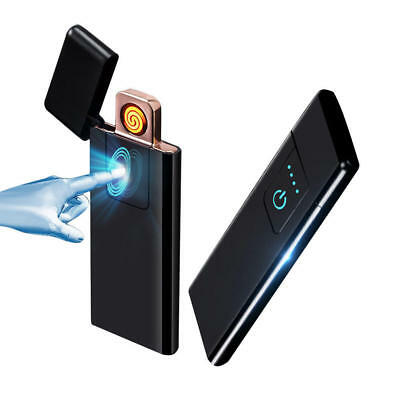 Ultra-thin Metal Fingerprint Touch USB Rechargeable Flameless Windproof Lighter