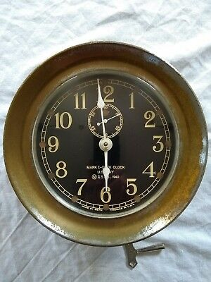 SETH THOMAS MARK I SHIP BOAT DECK CLOCK US NAVY 1940 NAV. No.4885+ Key