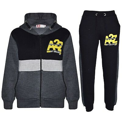 Kids Boys Jogging Suit Charcoal Designer's Tracksuit Zipped Top Bottom Age 5-13Y