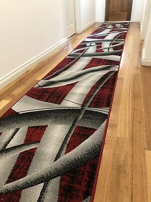 Deanna Red Grey Pipe Lines Modern Hallway Runner Hall Runner Rug 6 Metres Long