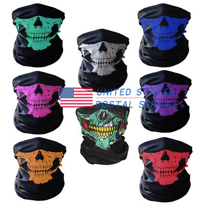 8 Colors Skull Face Mask Tube Scarf Biker Neck Snood Warmer Balaclava Facemask