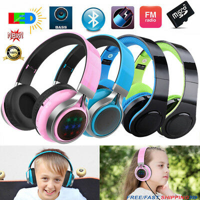 Foldable Wireless Bluetooth Headphones Headsets STEREO Built In FM Mic Kid Gift#