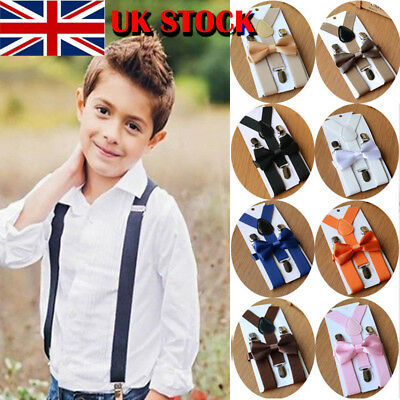 UK STOCK Cute Suspender and Bow Tie Set for Baby Toddler Kids Boys Girls