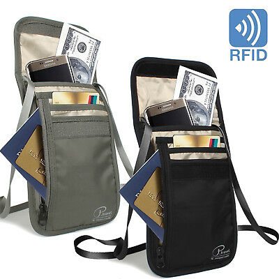 RFID-Blocking Neck Stash Anti-Theft Hidden Wallet Passport Nylon Bag Black Grey