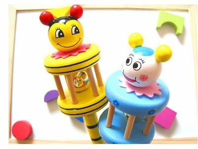 Hand Bell Ring Baby Kids Wooden Musical Instrument Toys Rattle Jingle Gifts OU