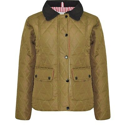 Kids Girls Jacket Khaki Quilted Padded Collar Buttoned Zipped Jacket Thick Coat