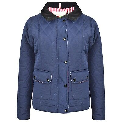 Kids Girls Jacket Navy Quilted Padded Collar Buttoned Zipped Jacket Coat 5-13 Yr