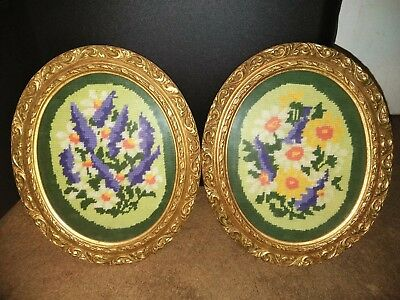 Beautiful 2 Needlepoint Flowers Oval Gold Framed