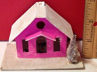 A Little Retro PINK Christmas Village House Made In Japan Light Cover Ornament!