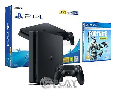 PS4 Slim 500Gb Negra Playstation 4 + Fortnite Lote de Criogenización Incl 1000vb