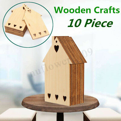 10pcs Cottage House Pure Wood Shape Plain Wooden Craft DIY Embellishments Gift