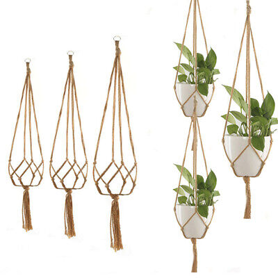 Hanging Pot Holder Macrame Braided Plant Hanger Planter Basket Jute Rope VXX