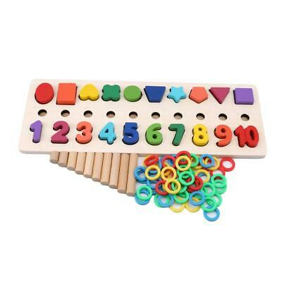 Montessori Wooden Shape Sorter Board Number Round Stack Building Block Toy T