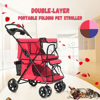 Pet Stroller Double Deck Dog Cat Safety Walking Folding Jogger Buggy 4 Wheels