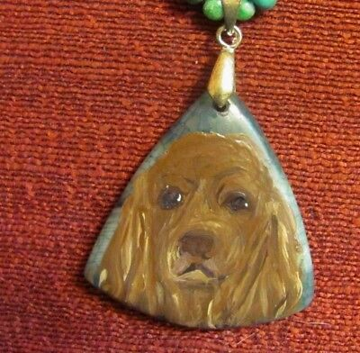 Sussex Spaniel hand-painted on triangular Agate pendant/bead/necklace