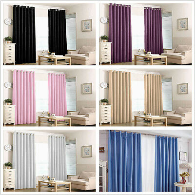 Thermal Blackout Curtains Eyelet Ring Top or Pencil Pleat Curtain Pair+ Free Tie