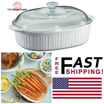 French White Oval Ceramic Casserole Dish 4-Qt W/ Glass Cover Oves-Safe Storage