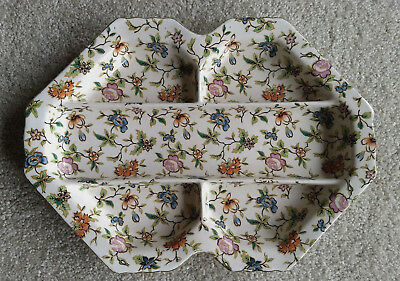 Moriyama Mori Machi Chintz Rectangular 5 Sectioned Platter Japan Vtg Floral MM