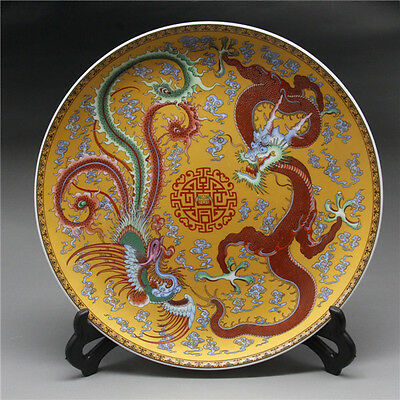 """9""""Chinese Rose Porcelain painted Dragon and phoenix Plate"""